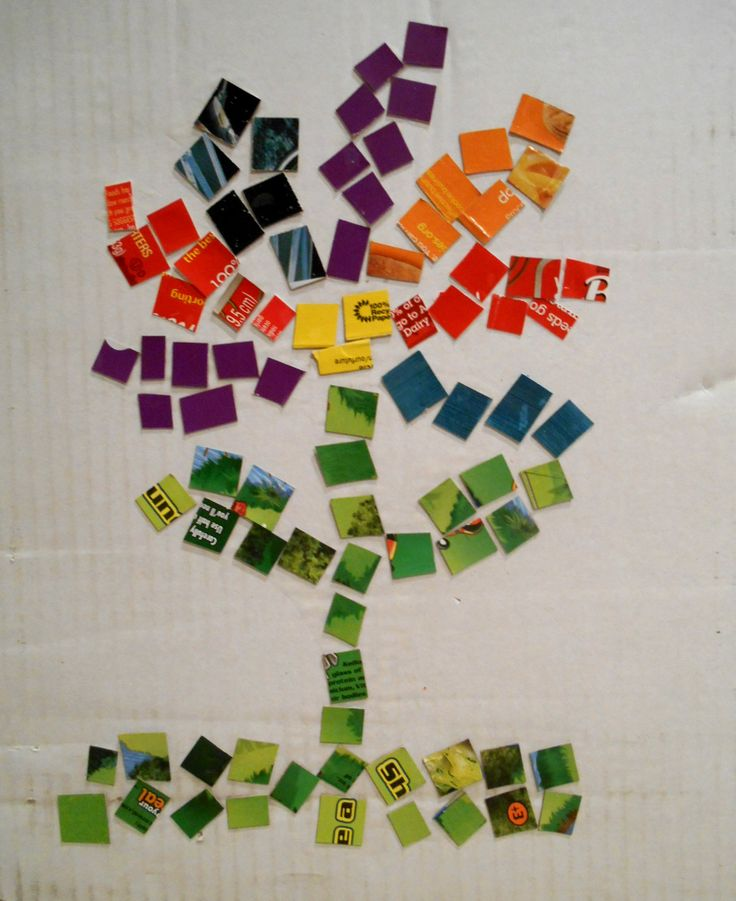 """Daisy Scout Green Petal """"Use Resources Wisely"""" - mosaic on old cardboard using chips from grocery store food boxes. The trick is you have to start early collecting boxes of all colors - you won't find pink - and cutting them a few at a time for your girls. They need to be sorted by color and given to the girls in yogurt cups - don't mix up all the colors. A mod-podge layer on top would make it look really nice."""