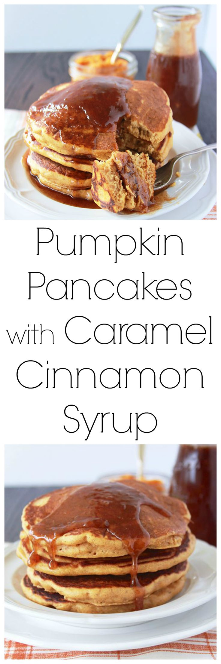 Pumpkin Pancakes with Caramel Cinnamon Syrup is an autumn delight! Your family will completely fall in LOVE with them! www.cookingwithruthie.com