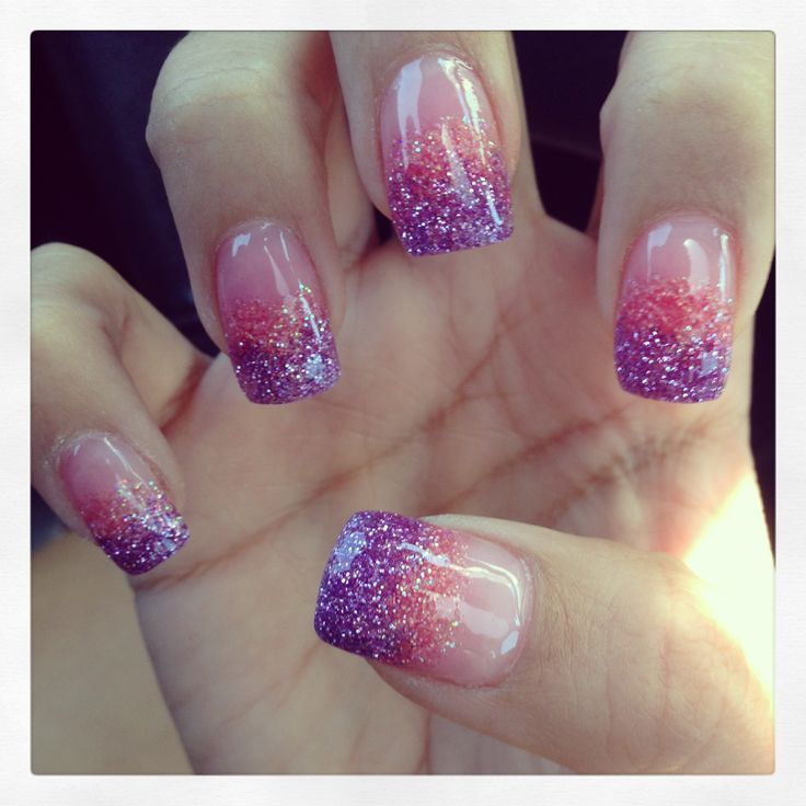 Solar nails. Pink N purple blend