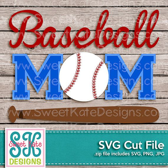 Baseball maman SVG JPG PNG Scrapbook Die par SKDSweetKateDesigns