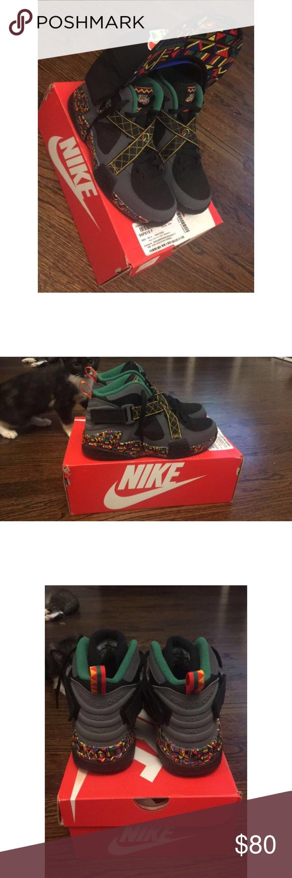 Nike Air Raid. Spike Lee's Urban Jungle. Nike Air Raid. Spike Lee's Urban Jungle. Grey, Black, Pine Green & Multi Colored. Size 6.5Y. Worn Twice. Original Box. (Hat Can Be Purchased Separately) Nike Shoes Sneakers