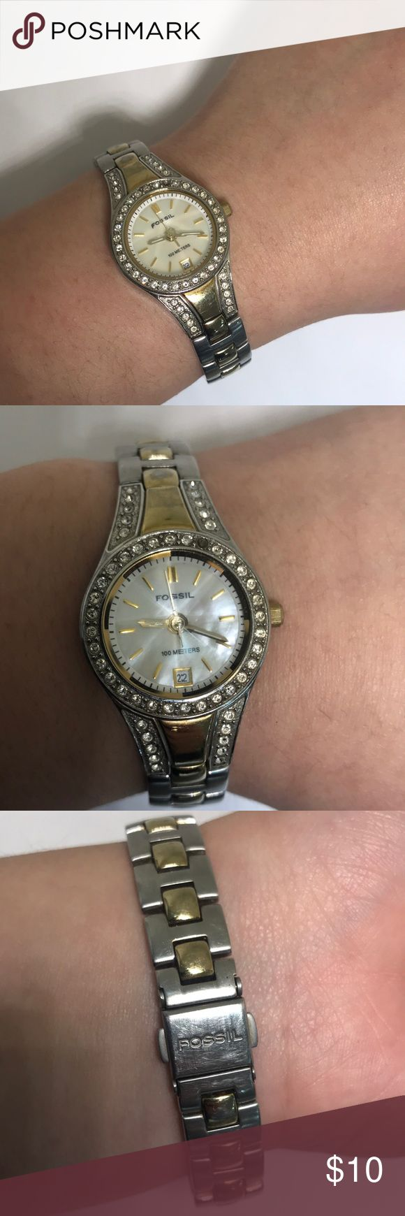 Lady's fossil watch W-088 Used Lady's fossil watch condition of watch is as shown in pictures Fossil Accessories Watches