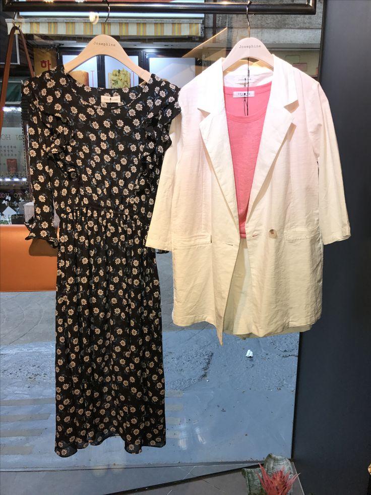 Josephine Flower pattern Dress white shorts suit with pink linen blending Top 이화여대 5길 3 Seoul,Korea