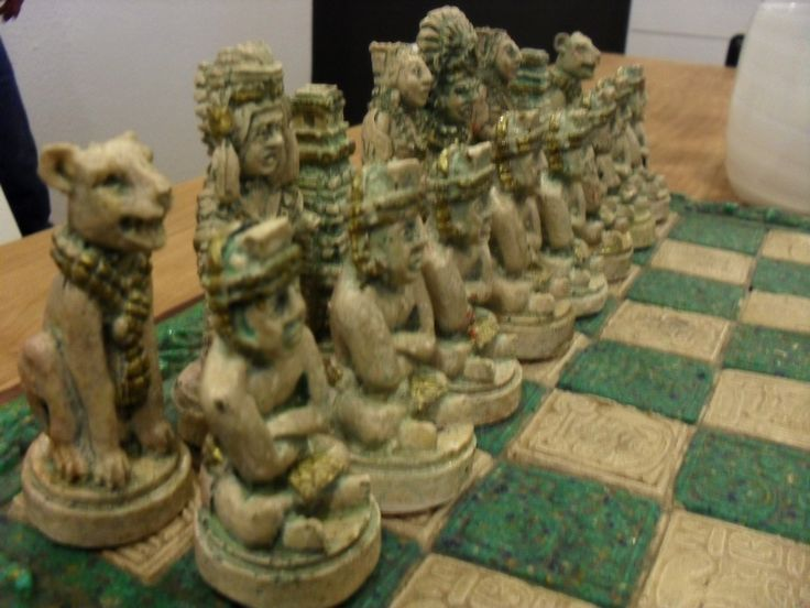 Scarce Antique Wood Stone Mayan Chess Set Mexico For