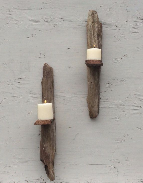 Wall hanging drift wood pillar candle holder, sconce, home decor , wall art , lighting , candle on Etsy, $49.00
