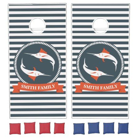 Monogram Series: Nautical. Sword Fish. Cornhole Set - click/tap to personalize and buy