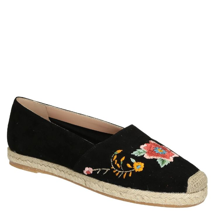 Black suede leather flat espadrilles with floral embroided - Italian Boutique €145