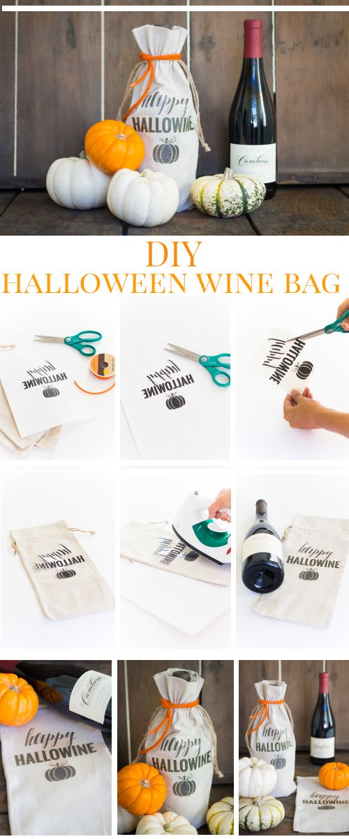 a diy halloween themed wine bag complete with your favorite bottle of cambria wine is surely the perfect way to give thanks to your party host - Diy Halloween Projects
