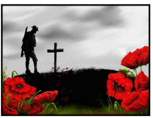In Flanders Fields the poppies blow, Between the crosses, row on row...