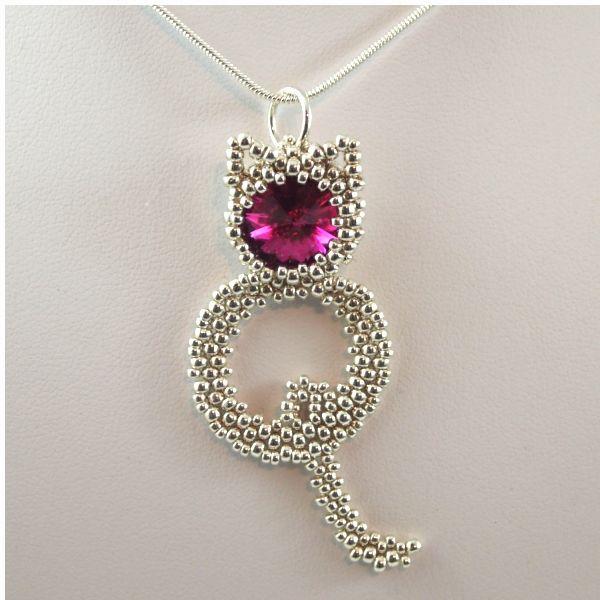 beaded cat pendant