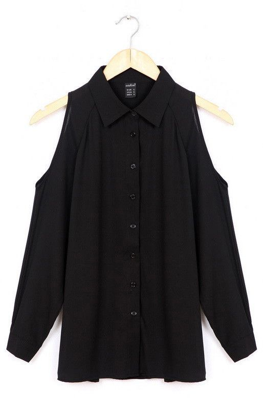 Long blouses, uncovered shoulders, long sleeve, casual, plus size.