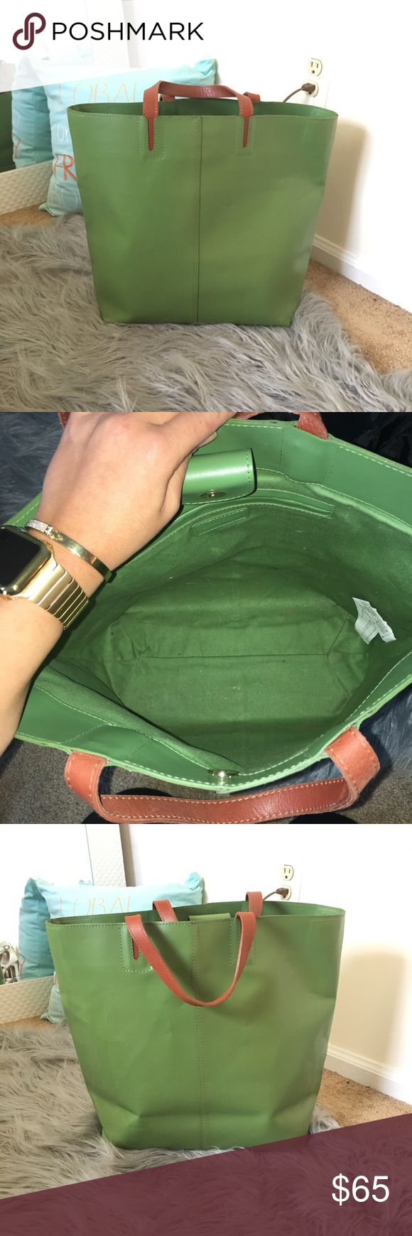 Green Zara tote In good condition. No stains. Its very clean inside. Worn handful of times. Some wear on corners but nothing noticeable! Its been folded for a while and pictures show some marks on the bag. Zara Bags Totes