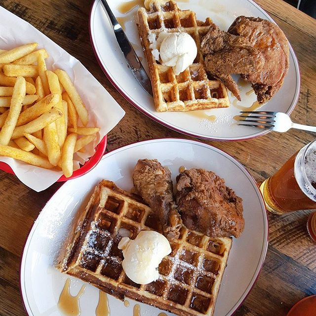 First meal of the day: Chicken & waffles with a side of beer #chickenandwaffles #FAT #its5oclocksomewhere