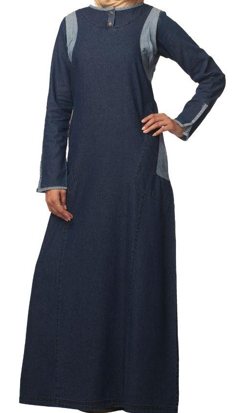 Simple and comfortable denim jilbab