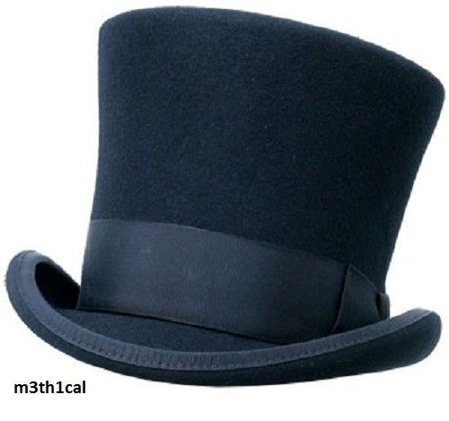 ~52BIN Adult Black Wool Tall Gentlemens Top Hat Victorian Dickens Slash Costume Caroler | eBay