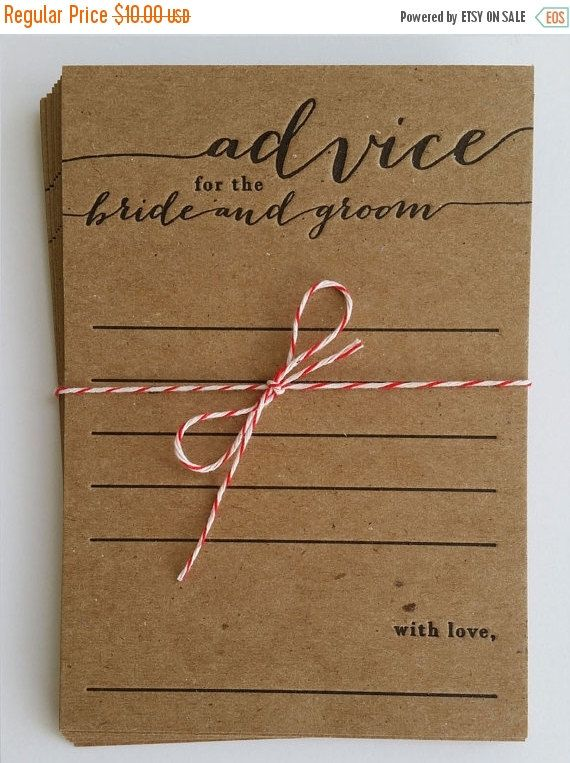 ON SALE advice for the bride and groom - letterpress - pack of 10 - bridal shower game - rustic - country - keepsake