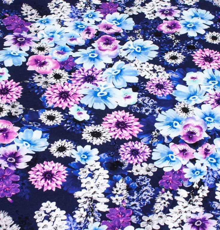 digitalprint af lilla blomster, jersey - oeko tex 100