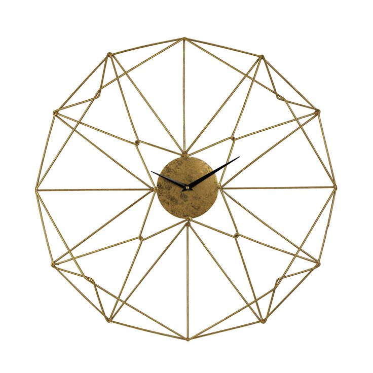 Sterling Angular Wirework Wall Clock. Part wall art, part clock. This piece of elegant, golden wire work would sit well in a modern interior. Item Number: 51-029 Item Class: Wall Decor. Product Type W