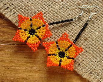 Flower earrings Orange earrings Dangle earrings Beaded earrings Dangle flower earrings Beaded flower earrings dangle Birthday gift for her