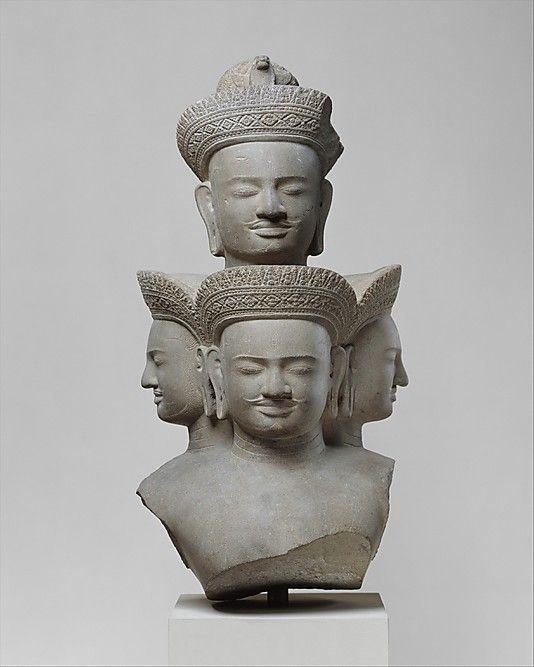 Bust of Five-Headed Shiva -     Period:      Angkor period  Date:      ca. mid-10th century  Culture:      Cambodia  Medium:      Stone