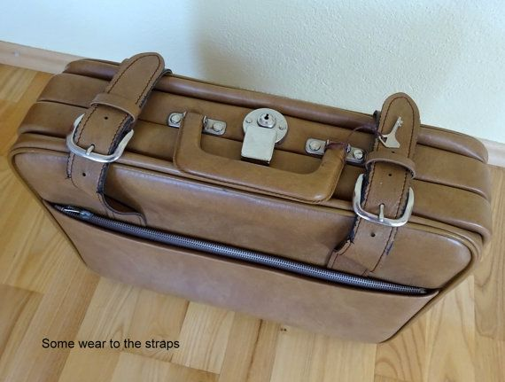 ITEM: Vintage Leather Suitcase Brown Luggage Flight Bag Light Tan Suitcase Travel Lockable Key 43x30x15 cms  Have to say, this is a really nice