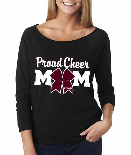 Proud Cheer Mom with Cheer Bow that has cheerleader's name. Your cheerleader will know just how proud you are by wearing this glittery shirt customizable your gym/team colors and the cheerleader's name.