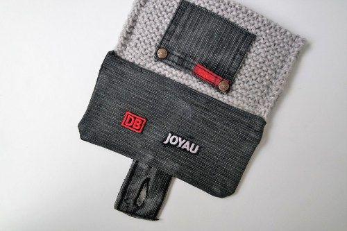 Découvrez comment réaliser une pochette en jean et laine.