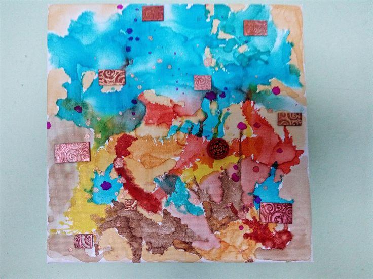 Obrázek k narozeninám - lihové inkousty na plátně, kousky polymerové mozaiky