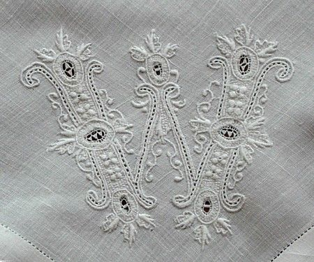 Whitework Monogram Hankie - W - nice source for vintage & antique linens, too...