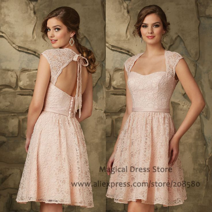 Find More Bridesmaid Dresses Information about Vintage Pink Short Lace Bridesmaid Dress Open Back Abiti Da Damigella Belt Cap Sleeve Wedding Guest Dresses 2016 BM463,High Quality dresses for older women,China dress bikini Suppliers, Cheap dresses cute from Magical Dress Store on Aliexpress.com