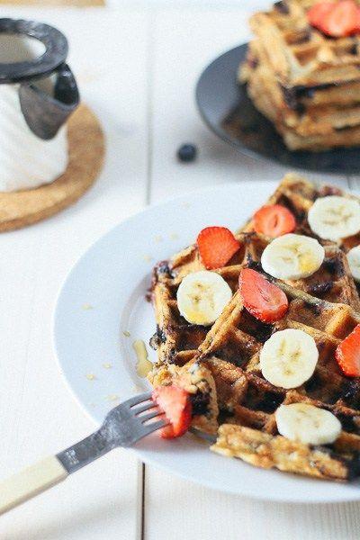 Paleo-ish Blueberry Oatmeal Waffles | Paleo-ish