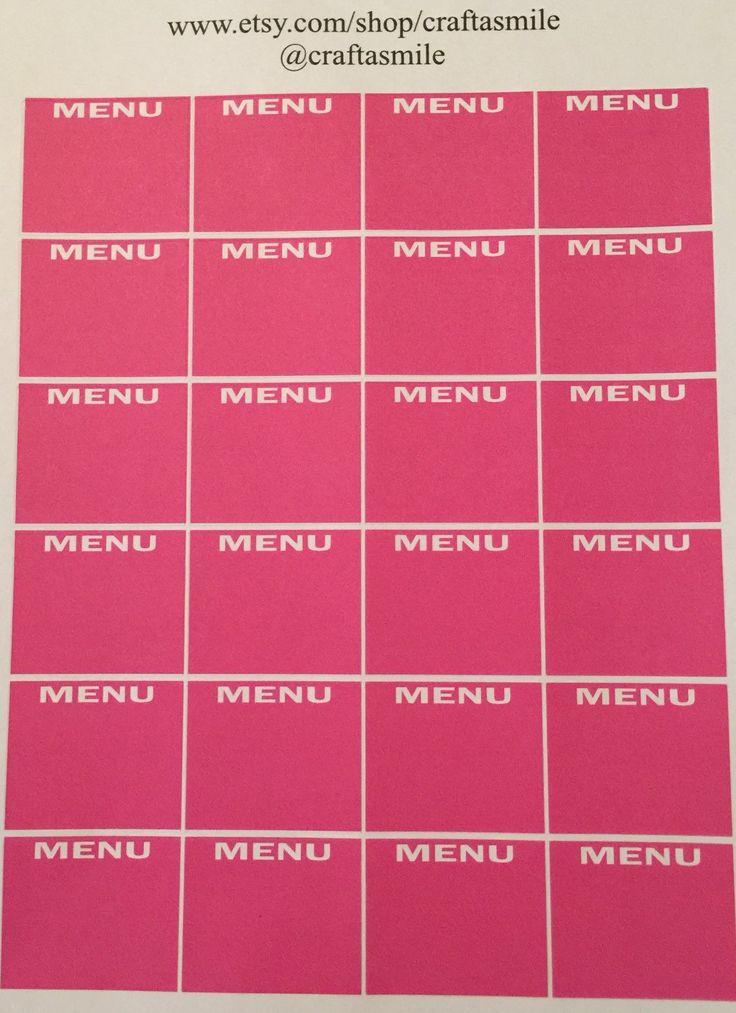 Deep Pink MENU Die-cut Sticker Sheet - FREE SHIPPING by craftasmile on Etsy