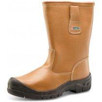 Click Steel Toe Cap Scuff Cap Leather Rigger Boots Tan