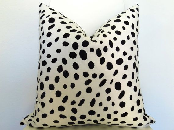 Etsy: Dalmatian Spotted Pillow Cover - Black and Off-White - 18 inch - BOTH SIDES - Animal Pillow - Decorative Pillow - Designer Pillow