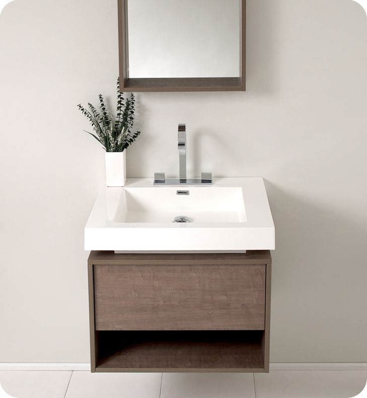 Pictures In Gallery Fresca FVNGO Potenza Gray Oak Modern Bathroom Vanity with Pop Open Drawer
