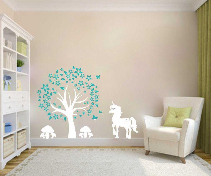 Inspirational Kinderzimmerdekoration Wandtattoo Kinderzimmer Einhorn unter Baum ein Designerst ck von taia s bei