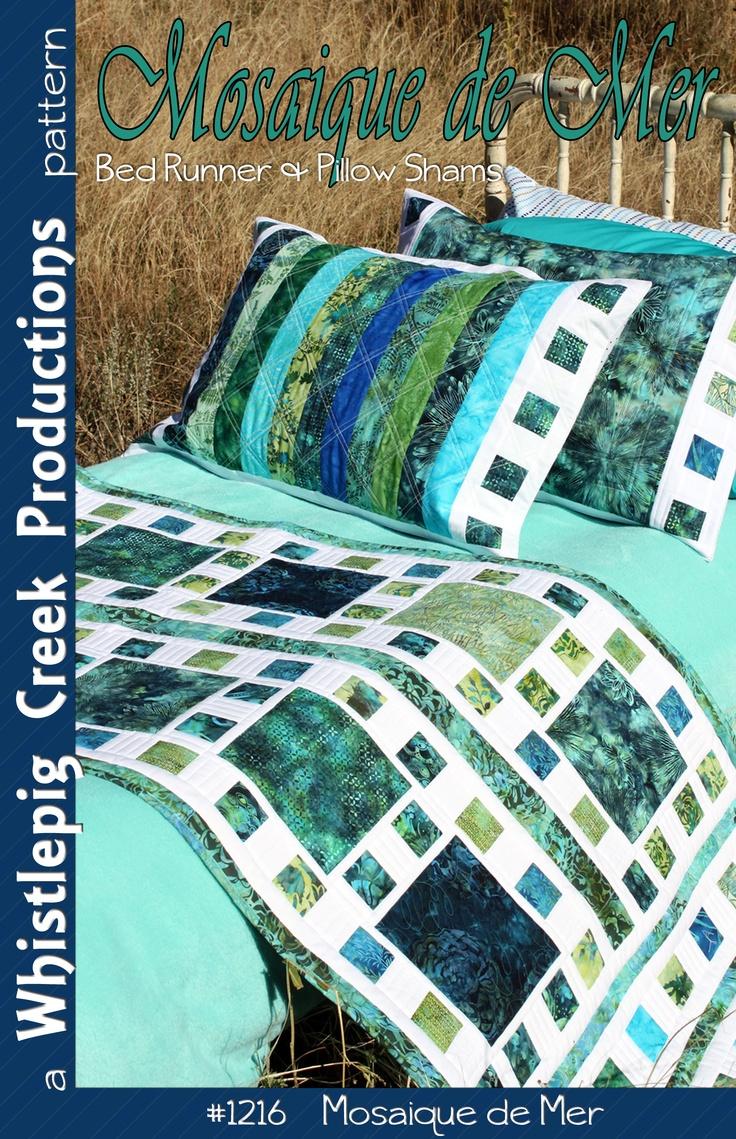 Mosaique de Mer - Bed runner and pillow sham pattern
