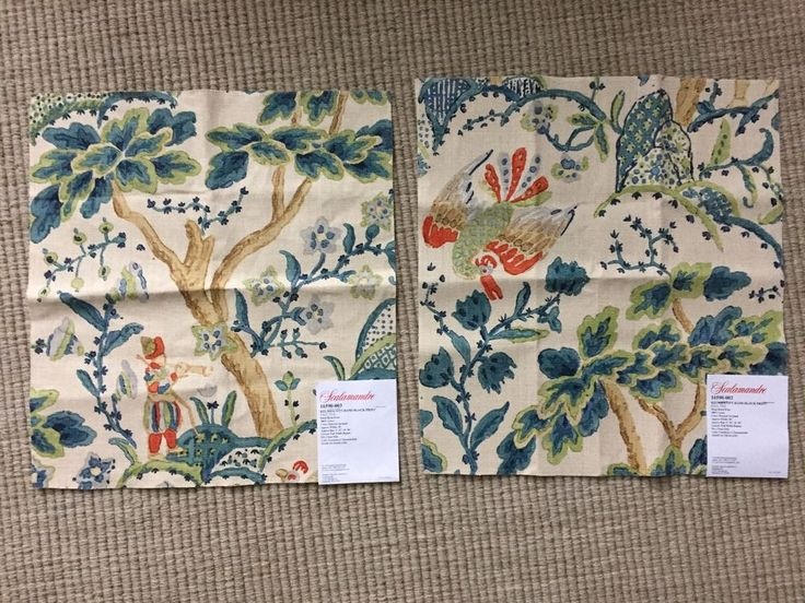 THIS SALE INCLUDES TWO FABRIC REMNANTS OF THE SAME PRINT! This is a HAND BLOCKED PRINT. BEAUTIFUL COLORS! 100% Linen. Beautiful Fabric! Will make a fabulous pillow! Each remnant piece has a different part of the print. | eBay!