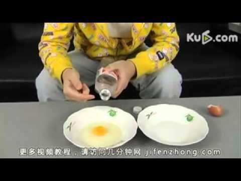 Two videos. One WTF way of separating egg yolks from white. Incredible. The other way, the common egg-shell method.