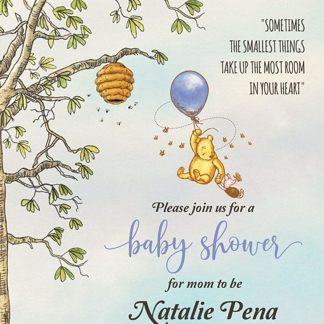Winnie The Pooh Baby Shower Invitation Editable Classic Etsy Baby Shower Baby Shower Fall Baby Shower Templates