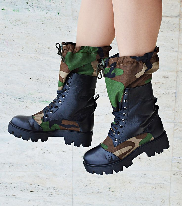 Camo Genuine Leather  Boots, Camouflage Leather Boots, Women Camo Boots, Teyxo Boots TBT 06 https://www.etsy.com/listing/560662896/camo-genuine-leather-boots-camouflage?utm_campaign=crowdfire&utm_content=crowdfire&utm_medium=social&utm_source=pinterest