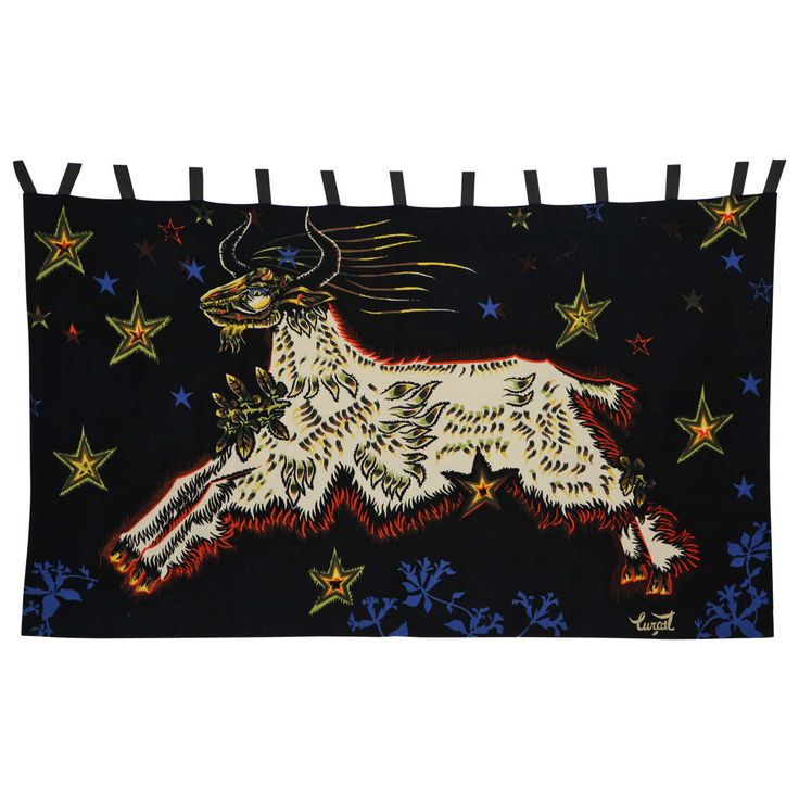"""Jean Lurcat Wool Tapestry, """"Capricorn,"""" with Linen Backing, France, Circa 1955 