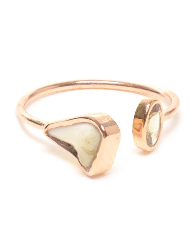 18K Rose Gold and Shark Tooth Ring by DEZSO at Browns Fashion for £270.00