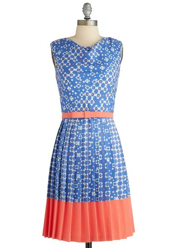 Wallpaper Party Dress by Eva Franco - Mid-length, Blue, Orange, White, Pleats, Belted, Sleeveless, Floral, Vintage Inspired, 60s, Sheath / Shift, Spring, Exclusives, Daytime Party