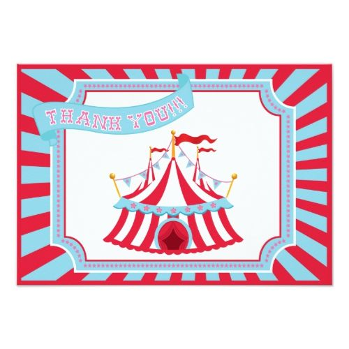 Circus or Carnival Tent - Thank You Cards