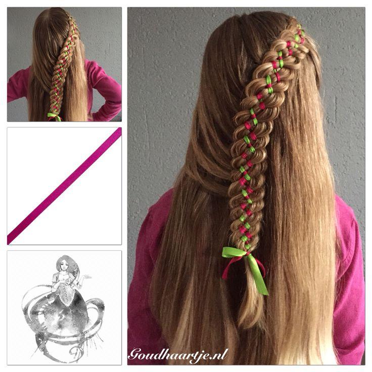 Six strand ribbon braid with a pink and green ribbon from Goudhaartje.nl   Inspired by: @svetlana.style (instagram) #6strandribbonbraid #6strandbraid #ribbonbraid #ribbon #braid #braids #halfup #halfupdo #hairideas #coolhair  #hair #hairstyle #hairinspiration #hairaccessories #haar #vlecht #haarstijl #haaraccessoires #vlechten #beautifulhair #longhair #mooihaar #langhaar #goudhaartje #hairstylesforgirls