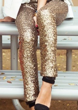 WithChic Sequined Gold Silver Leggings Glitter Pants