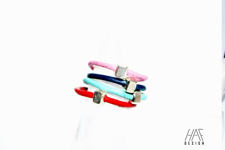 Bague anneau original en CUIR : 4 anneaux couleurs personnalisables : Bague par haf-design