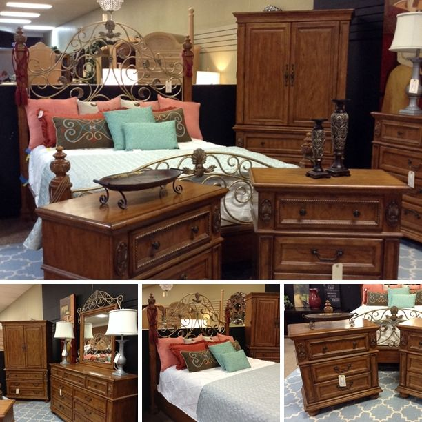Metal Wood Bedroom Group   Dresser w  Mirror   458 95 2pc  TV Armoire. 17 Best images about TOO GOOD  STONE OAK FURNITURE on Pinterest