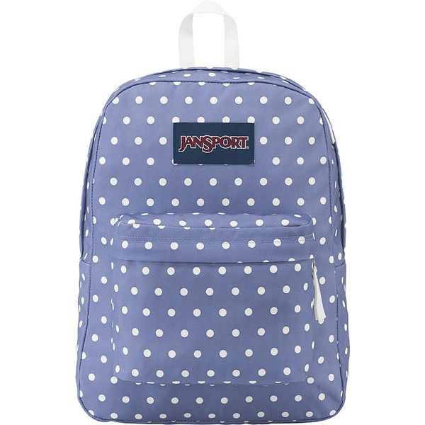 be2eb69467e1 JanSport SuperBreak Backpack - Bleached Denim   White Dot - School...  (2.065 RUB) ❤ liked on Polyvore featuring bags